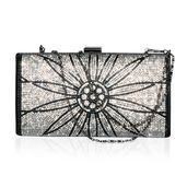 Black and White Austrian Crystal, Polyester Clutch with Removable Chain Strap (46 In) (70x24 in)