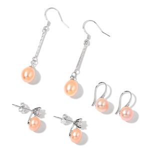 Freshwater Pearl - Peach, Simulated White Diamond Silvertone Set of 3 Earrings TGW 0.80 cts.
