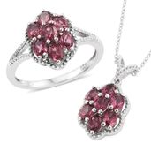 Orissa Rhodolite Garnet Platinum Over Sterling Silver Ring (Size 8) and Pendant With Chain (20 in) TGW 3.90 cts.