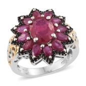 Niassa Ruby Cluster Ring in 14K YG and Platinum Over Sterling Silver 8.50 cttw (Size 6.0)