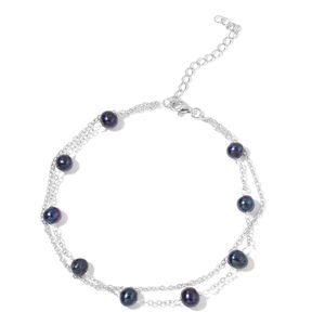 Pearl Expression Freshwater Peacock Pearl Sterling Silver Anklet (9 in)