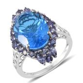 Caribbean Quartz, Catalina Iolite Platinum Over Sterling Silver Ring (Size 9.0) TGW 10.89 cts.
