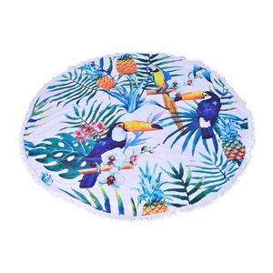 Toucan Printed 90% Polyester and 10% Cotton Luxury Round 2 People Beach Mat, Blanket, or Towel with Fringe (59 In)