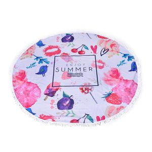 Enjoy Summer Printed 90% Polyester and 10% Cotton Luxury Round 2 People Beach Mat, Blanket, or Towel with Fringe (59 In)