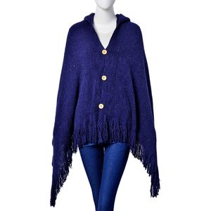 Dark Blue 80% Acrylic & 20% Polyester Hooded Sequin Kimono with Buttons and Fringes (One Size)