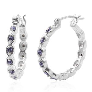 KARIS Collection - Platinum Bond Brass Hoop Earrings Made with SWAROVSKI Purple Crystal TGW 0.72 cts.