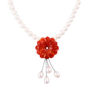 Pearl Expression Freshwater Pearl, Burmese Red Jade Carved Sterling Silver Flower Pendant With Necklace (18 in) TGW 51.20 cts.