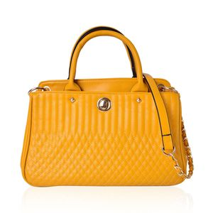Mustard Faux Leather Quilted Tote Bag with Removable Strap and Standing Studs (13x5.5x8 in)