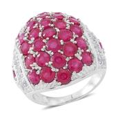 Niassa Ruby, White Topaz Sterling Silver Cluster Dome Ring (Size 10.0) TGW 10.05 cts.