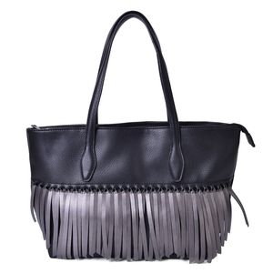 Black Faux Leather Twisted Fringe Structured Shoulder Bag (14x5.5x11 in)