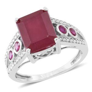 Niassa Ruby, Burmese Ruby Sterling Silver Ring (Size 8.0) TGW 8.29 cts.
