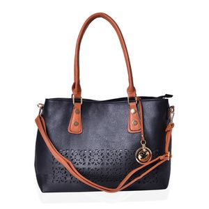 Black and Brown Faux Leather Laser Cut Tote Bag with Removeable Shoulder Strap (43 In) and Maple Leaf Key Charm (14.5x5.5x11 in)