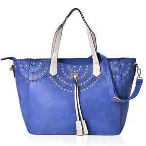 Navy Faux Leather Tassel Studded Tote Bag with Removeable Shoulder Strap (50 In) on Standing Studs (12x5.5x9 in)
