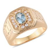 Sky Blue Topaz, Simulated Diamond ION Plated YG Stainless Steel Men's Ring (Size 10.0) TGW 2.38 cts.