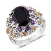 Thai Black Spinel, Brazilian Citrine, Amethyst Platinum Over Sterling Silver Ring (Size 7.0) TGW 8.82 cts.