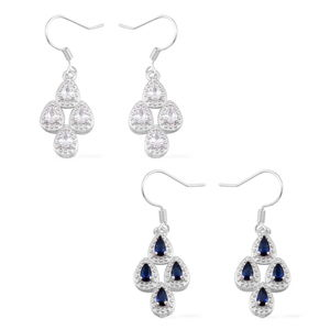 Set of 2 Simulated Blue and White Diamond Silvertone Earrings TGW 8.00 cts.