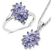 Tanzanite Platinum Over Sterling Silver Ring (Size 8) and Pendant With Stainless Steel Chain (20 in) TGW 2.32 cts.