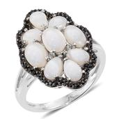 Australian White Opal, Thai Black Spinel Platinum Over Sterling Silver Ring (Size 6.0) TGW 4.56 cts.