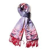 Reversible Luxurious Ruby Red 3D Flower Print Pattern 50% Viscose and 50% Polyester Scarf with Fringes (70x24 in)