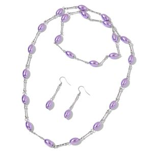 Simulated Purple Pearl, Glass Beads Stainless Steel Earrings and Necklace (38 in)