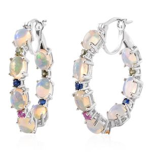 Ethiopian Welo Opal, Multi Sapphire Platinum Over Sterling Silver Inside Out Hoop Earrings TGW 8.33 cts.