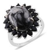 Austrian Pinolith, Thai Black Spinel Platinum Over Sterling Silver Ring (Size 7.0) TGW 17.30 cts.