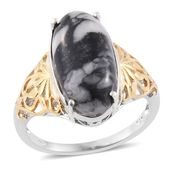 Austrian Pinolith 14K YG and Platinum Over Sterling Silver Ring (Size 8.0) TGW 9.80 cts.