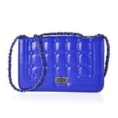 Royal Blue Quilted Faux Leather Studded Crossbody Bag (10x4x6.5 in)