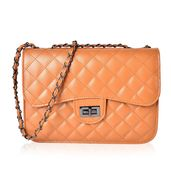 Camel Quilted Pattern Crossbody Bag (10.3x3x7.2 in)