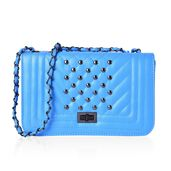 Baby Blue Quilted Studded Saddle Bag (10x3x5.5 in)