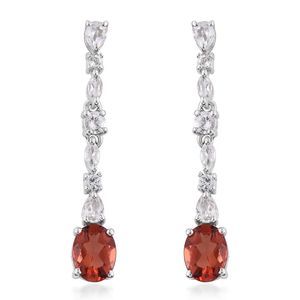 Red Andesine, White Topaz Platinum Over Sterling Silver Earrings TGW 3.60 cts.