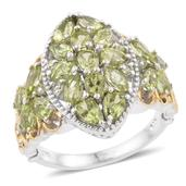Hebei Peridot 14K YG and Platinum Over Sterling Silver Ring (Size 10.0) TGW 4.52 cts.