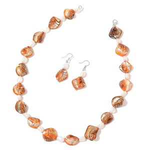 Orange Shell, Freshwater Pearl Sterling Silver Earrings and Necklace (18 in)