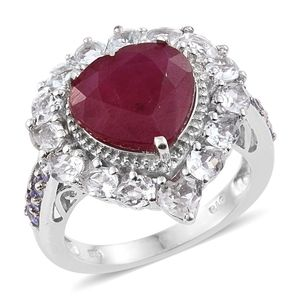 Niassa Ruby, Tanzanite, White Topaz Platinum Over Sterling Silver Heart Ring (Size 7.0) TGW 11.53 cts.