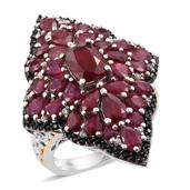 Niassa Ruby, Multi Gemstone 14K YG and Platinum Over Sterling Silver Elongated Ring (Size 5.0) TGW 11.28 cts.