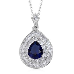 Blue Glass, Simulated Diamond Silvertone Pendant With Chain TGW 9.90 cts.