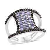 Tanzanite, Thai Black Spinel Black Rhodium & Platinum Over Sterling Silver Open Double Band Ring (Size 7.0) TGW 2.08 cts.