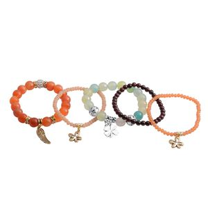 Multi Gemstone Dualtone Set of 5 Bracelet (Stretchable) TGW 311.00 cts.
