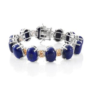 Lapis Lazuli 14K YG and Platinum Over Sterling Silver Bracelet (7.50 In) TGW 90.74 cts.