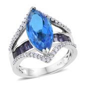 Caribbean Quartz, Catalina Iolite, Cambodian Zircon Platinum Over Sterling Silver Ring (Size 10.0) TGW 9.58 cts.