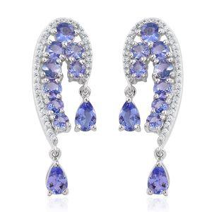 Tanzanite, Cambodian Zircon Platinum Over Sterling Silver Drop Earrings TGW 5.04 cts.
