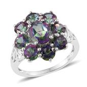 Northern Lights Mystic Topaz Platinum Over Sterling Silver Floral Ring (Size 5.0) TGW 7.00 cts.