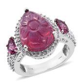 Niassa Ruby Carved, Orissa Rhodolite Garnet, Cambodian Zircon Platinum Over Sterling Silver Ring (Size 8.0) TGW 10.57 cts.