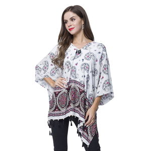 White 100% Viscose V-Neck Paisley Mandala Paint Poncho with Wooden Tassel (Free Size)