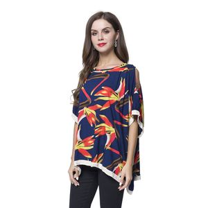 Navy Blue Crane Flower Pattern 100% Viscose Boat Neck, Cold Shoulder Blouse (Free Size)