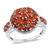 Crimson Fire Opal Platinum Over Sterling Silver Ring (Size 7.0) TGW 1.84 cts.