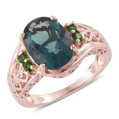 Belgian Teal Fluorite, Russian Diopside 14K RG Over Sterling Silver Ring (Size 6.0) TGW 6.68 cts.