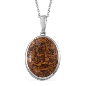 Indian Script Stone Stainless Steel Pendant With Chain (20 in) TGW 16.15 cts.