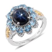 Thai Blue Star Sapphire, Electric Blue Topaz, Cambodian Zircon 14K YG and Platinum Over Sterling Silver Ring (Size 10.0) TGW 6.55 cts.