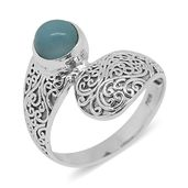 Bali Legacy Collection Larimar Sterling Silver Ring (Size 7.0) TGW 2.06 cts.